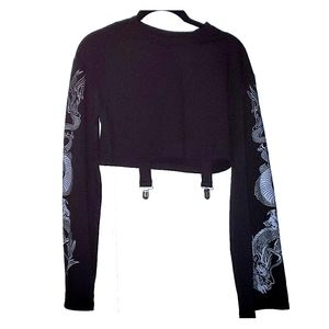 Dragon sleeve crop top with attached suspenders